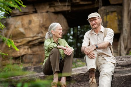 Description: Dr. Jane Goodall, Disneynature Ambassador and .Founder, The Jane Goodall Institute with Dr. Wolfgang Dittus, Scientific Consultant, in the Monkey Kingdom.  Wolfgang has been studying the macaque monkeys of Sri Lanka for nearly 50 years. His and Jane Goodall's study at Gombe are the longest running studies of wild primates. For the film, Wolfgang helped select the monkey characters and decipher their behaviour. His decades of research were invaluable to the making of Monkey Kingdom