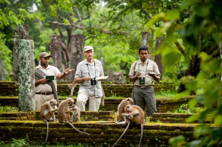 Description: Wolfgang Dittus, Scientific Consultant with Chameera Pathirathne, and Sunil Rathnayake, Scientific Assistants, observe some monkeys in the ruins. Wolfgang has been studying the macaque monkeys of Sri Lanka for nearly 50 years. His and Jane Goodall's study at Gombe are the longest running studies of wild primates. For the film, Wolfgang helped select the monkey characters and decipher their behaviour. His decades of research were invaluable to the making of Monkey Kingdom